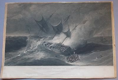 Kent Indiaman On Fire Bay Of Biscay William Daniell Ra 1825. Large Engraving