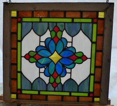 Victorian flower leaded stained glass window
