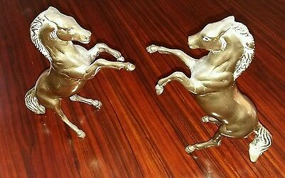A Vintage Pair of Brass Figures of a Horse on Hind Legs
