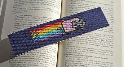 Finished Cross Stitch Piece - Bookmark Nyan Cat
