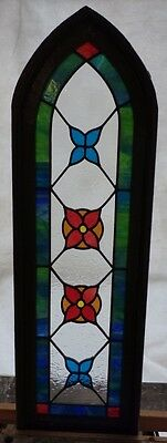 gothic arched flower leaded stained glass window