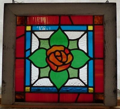 victorian rose flower leaded stained glass window