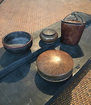 4 Antique, 19th Cent Chinese Burl Wood Containers