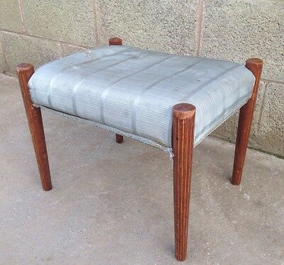 Vintage Footstool Blue/ Brown Small