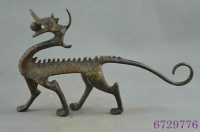 collection handwork copper carve abstract dragon bite bead lucky exorcism statue