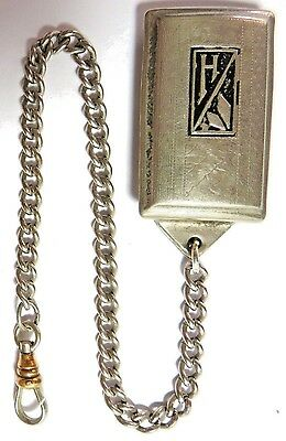 "Vintage Pocket Watch ""h"" Silver Plate Belt Fob Chain"