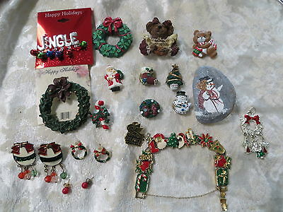Lot of Vintage Christmas Brooches Bracelet Earrings and Button Covers