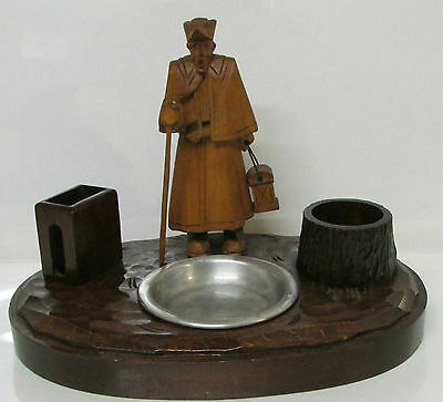 Vintage desktop smokers stand/ashtray/pipe rest made with 2 types of wood