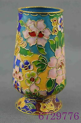 china collectible handwork cloisonne carve vivid flower rattan lucky brush pot