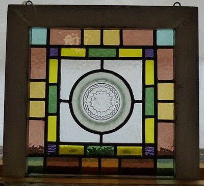 Arts and crafts depression plate leaded stained glass window 3