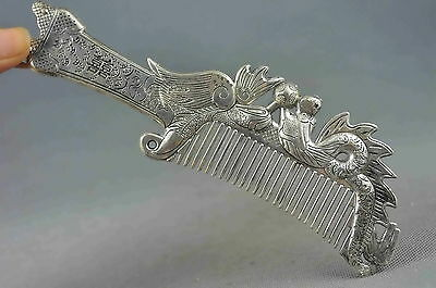 china collection miao silver carve dragon phoenix play bead exorcism lucky comb