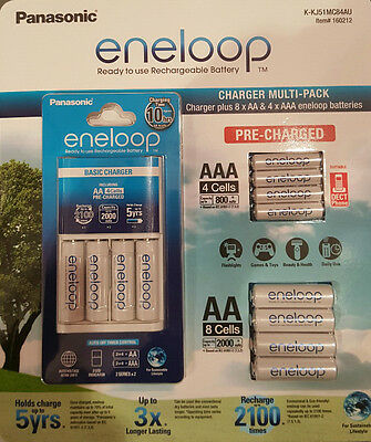 Eneloop Rechargeable Batteries NiMH 8-AA 4-AAA + Battery Charger Recharge SYD
