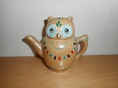 Novelty Vintage Beige  Chinese Owl Decorative Small Teapot
