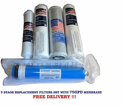 "10"" Pre Filters Set for 5 Stage Reverse Osmosis System 75 GPD Membrane NEW"