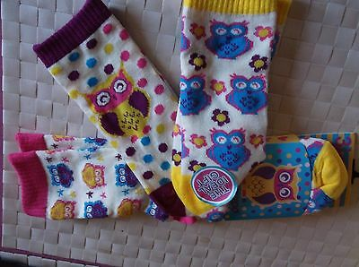 Brand New 3 Pack Multi Colour Twit Twoo Owl Girls Socks  Uk Size 12-3