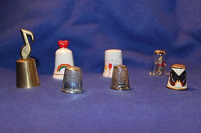 Lot of Thimbles Porcelain, Metal and Glass
