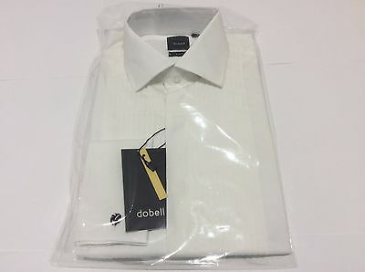 Mens White Pleated Wedding Formal Slim Fit Tuxedo Dress Shirt Size 15 1/2