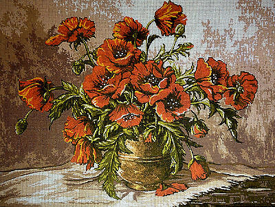 """Gobelin Tapestry Needlepoint Kit """"Flowers"""" hand embroidery printed canvas 146"""