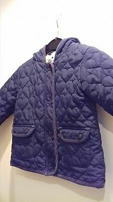 Beautiful Next Navy Blue Girls Quilted Jacket / Coat Size Age 2-3 Years