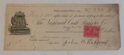 1899 The National Cash Register Co. Bill Head Letter Head Payment Check Recept
