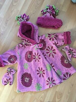 Girls Stunning Smart Winter Coat & Matching Hat and Gloves Age 2