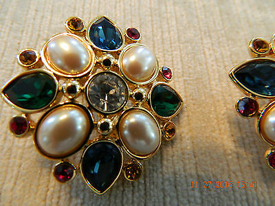 Monet Christmas Earrings - Clip On -  Multi-colored Stones