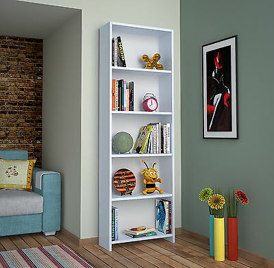 White Bookcase Bookshelf Display Unit Wooden Shelves Home Furniture 170 Cm
