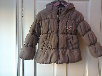 Girls Brown Next Coat 5-6 Years, Padded Puffa Jacket, Fleece Lined, Hooded, VGC
