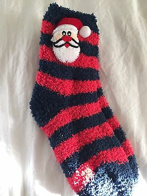 Kids Santa Cosy Sleep Socks, Size: Junior 9-12, New