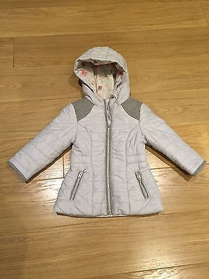 Girls Padded Grey / silver Hooded Jacket From F&F 2-3 Years