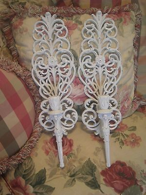 ~Lovely Lg Pair Chippy White Vintage Ornate Scrolls Candle Sconces! Cottage Chic
