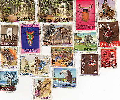 Set of 17 Stamps from Zambia