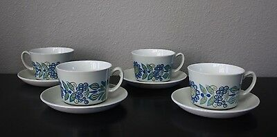 Figgjo Flint Tor Viking Turi Norway ~ Set of 4 Cups and Saucers
