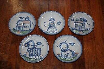 M A Hadley Country Scene Soup Cereal Bowls ~ Set of 5