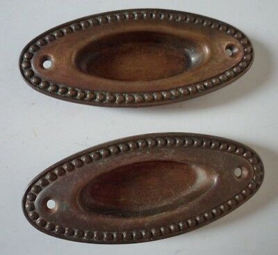 Set 2 Copper Plated Antique Oval Beaded Window Sash Finger Pulls Handles Plates