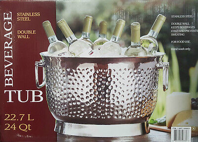 Double Wall 22.7L Stainless Steel Beverage Tub Party Ice Cold Drinks Bucket Bar2