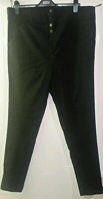 new look inspire high waisted black stretch trousers, size 18