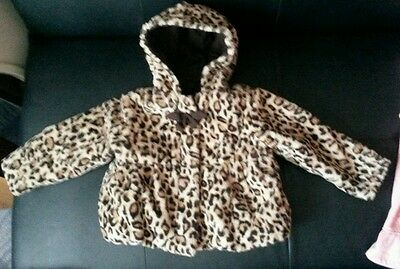 Girls 18 month Animal Print Furry Hooded Winter Coat