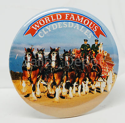 Vintage RARE Bud Budweiser World Famous Clydedale Horses bin button
