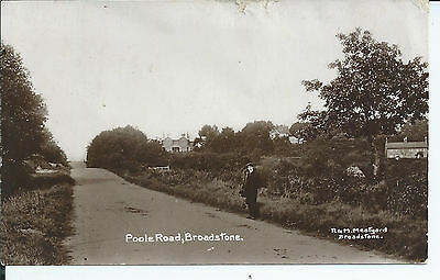 Real photo postcard of Poole road Broadstone Dorset in good condition
