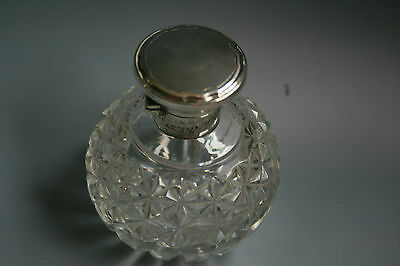 Antique Hinged Silver Top & Collar Cut Crystal Perfume / Scent Bottle 1922