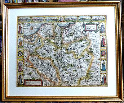 RARE ORIGINAL 17th century ANTIQUE MAP of POLAND by JOHN SPEED