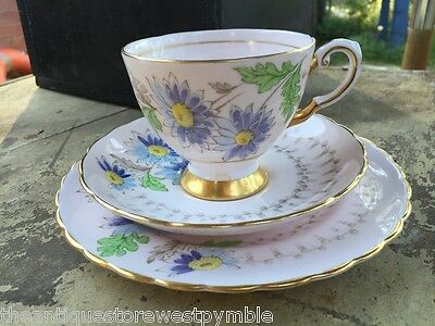 Vintage English Pottery Tuscan Flower Tea Cup Saucer Plate Trio