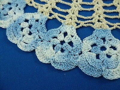 VINTAGE HAND CROCHETED PANSY BLUE WITH CREAM COLORED ROUND DOILEY 27cms across