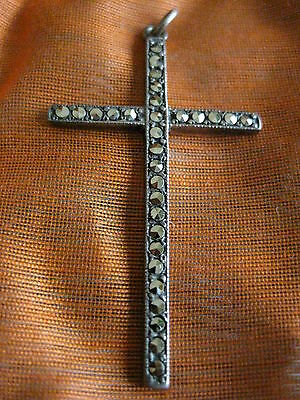 Beautiful Antique/vintage Sterling Silver Cross/crucifix Set With Marcasite
