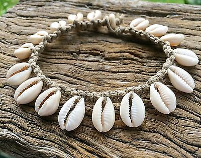 Hand Made Hemp Macrame Anklet with Cowrie Shells, Bohemian
