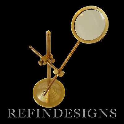 Art Deco Laboratory Scientific Illuminating Magnifying Lens Stand Brass 1930's