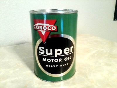 Vintage Gas Oil Can Conoco Sign Continental Oil Embossed Display Super Motor Oil