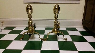 HARVIN ANDIRONS BEEHIVE BRASS PRE-VIrginia Metalcrafters Williamsburg style