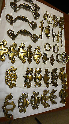 Antique Brass Furniture Pulls-mixed lot of 35 --heavy brass hardware